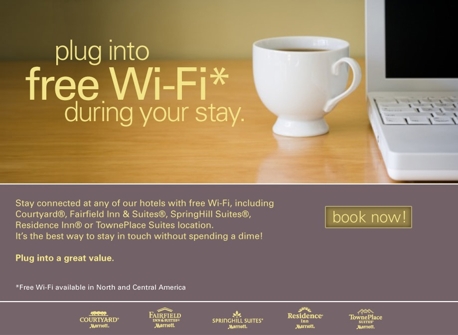 Free WiFi at any Courtyard, Residence Inn, Springhill Suites and Fairfield Inn & Suites.