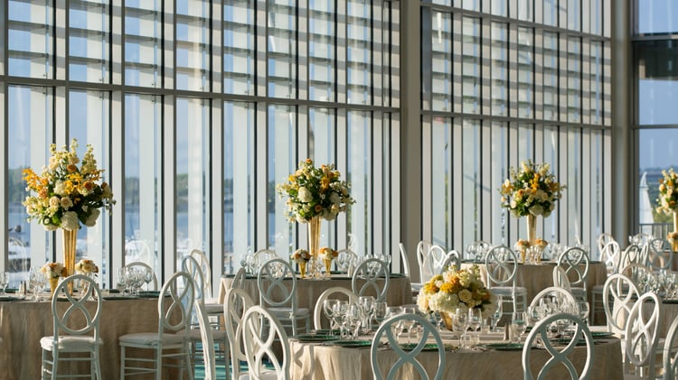 Wedding table setup with center pieces