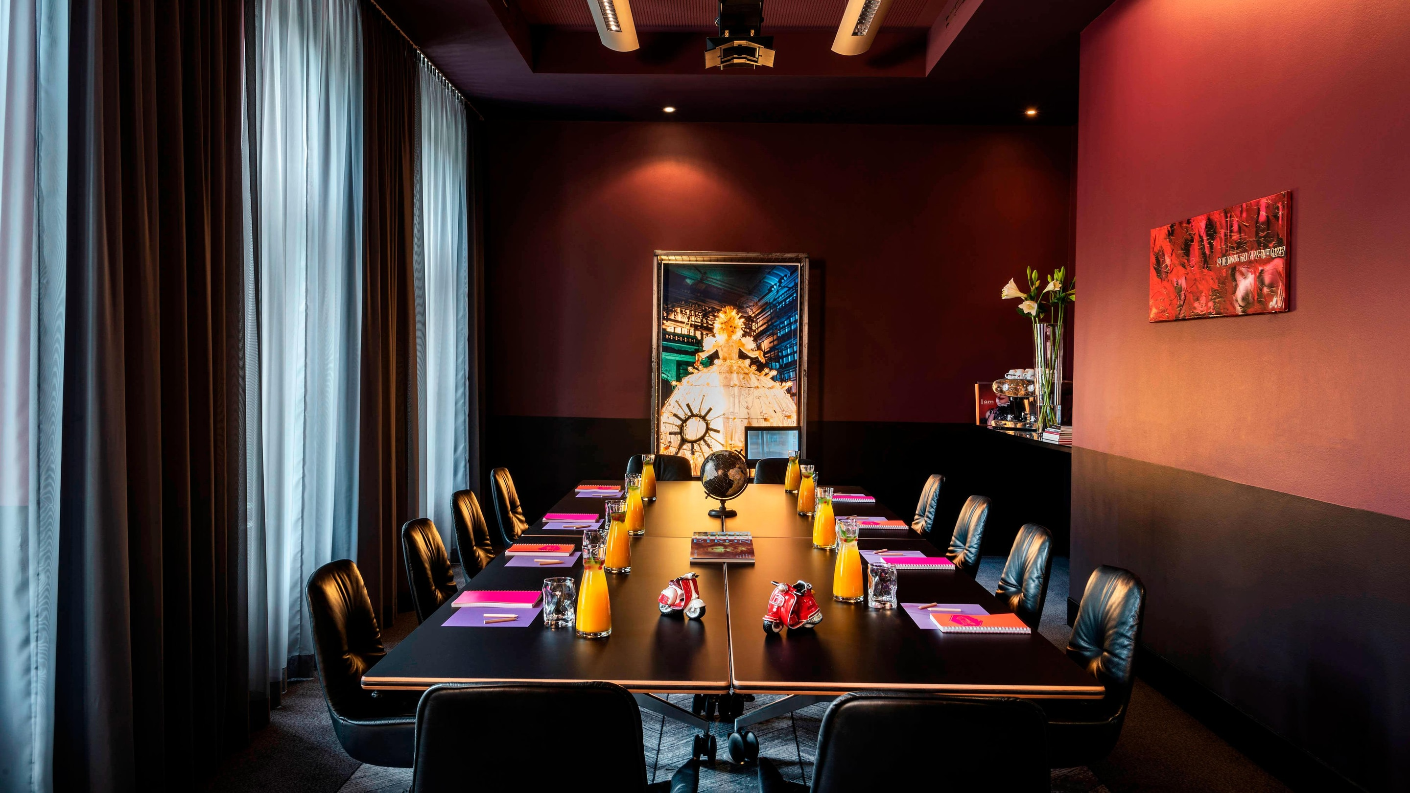 long black table in a meeting room