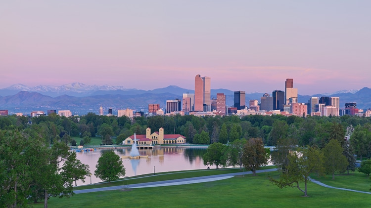 View of downtown Denver skyline.