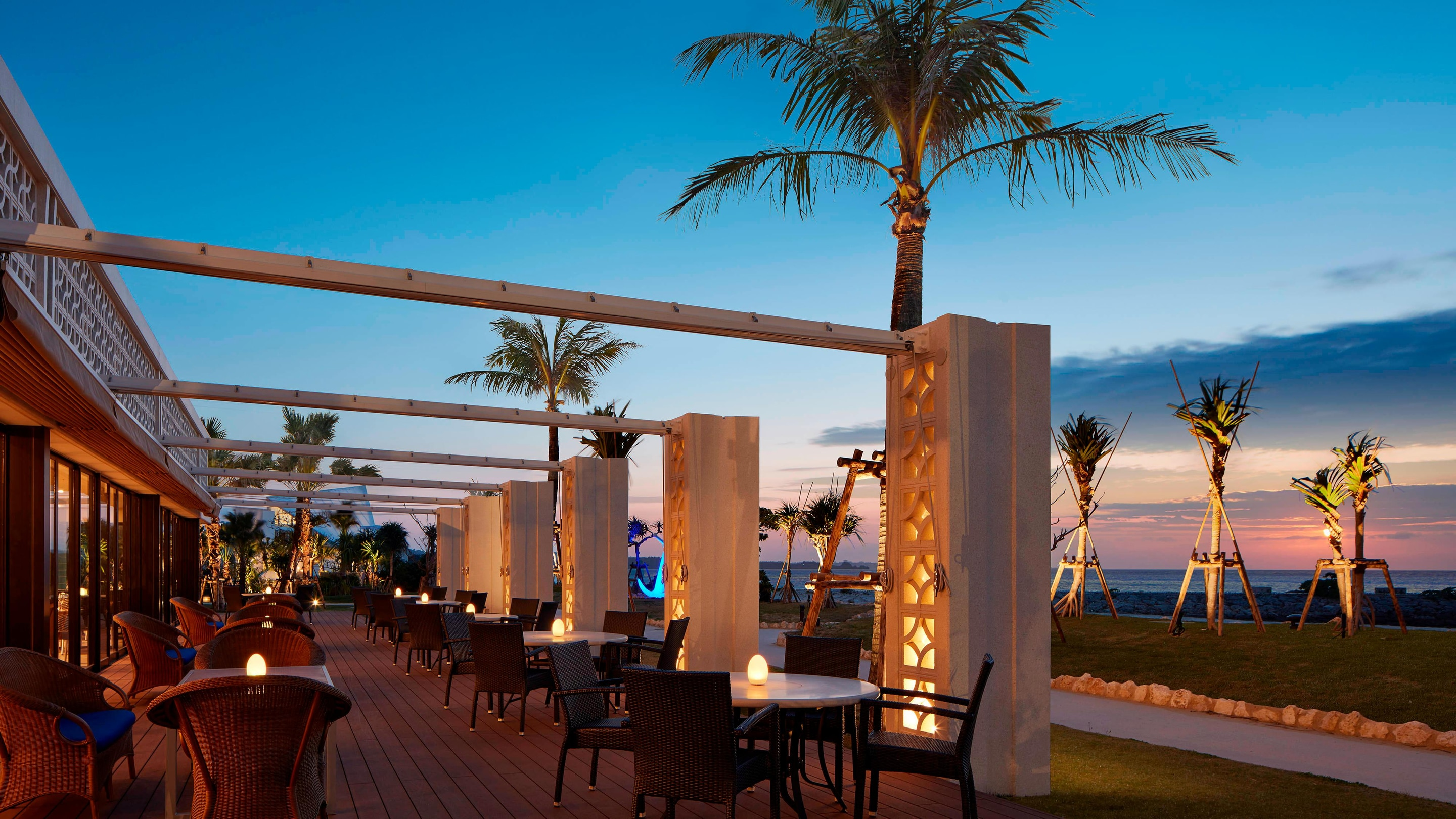 The grill terrace seating  and evening sunset