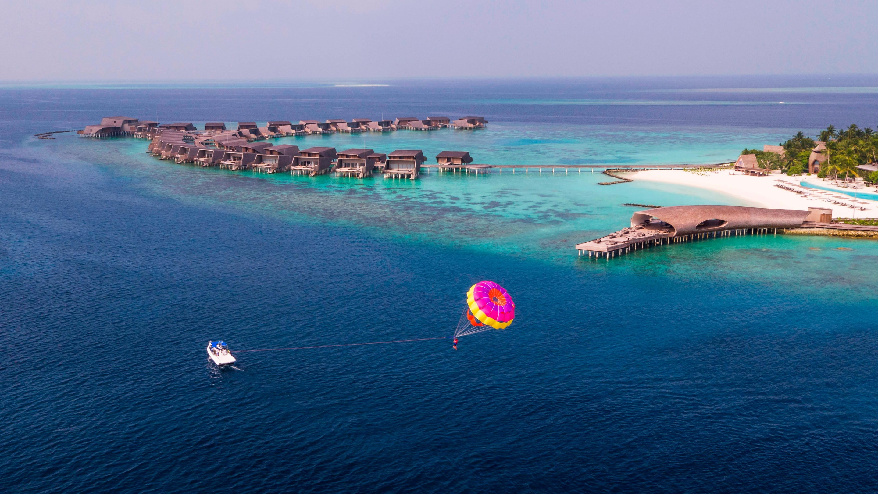 Parasailing by the villas
