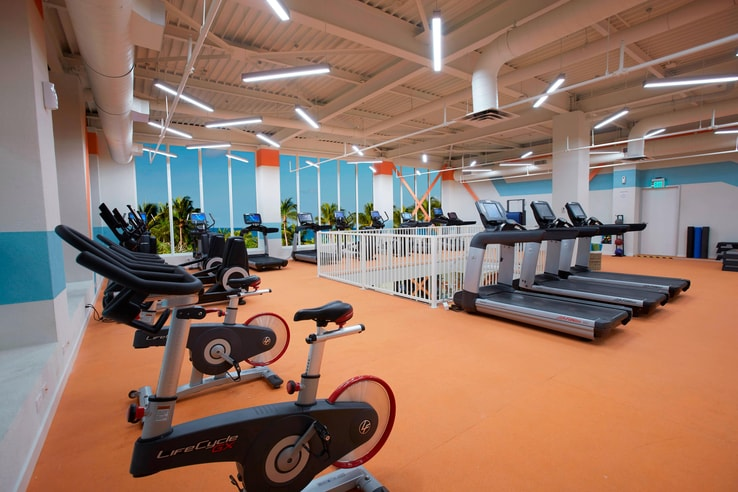 Cardio workout equipment on the second floor of the fitness center.