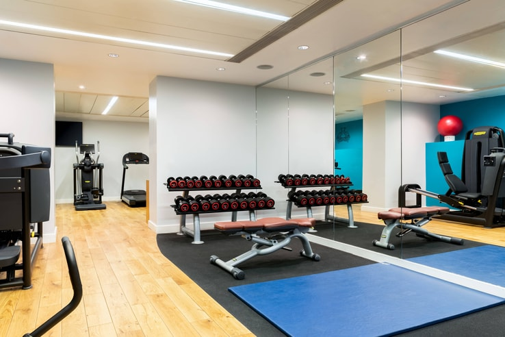 Fitness facility with racked dumbbells, an adjustable bench and cardio equipment.