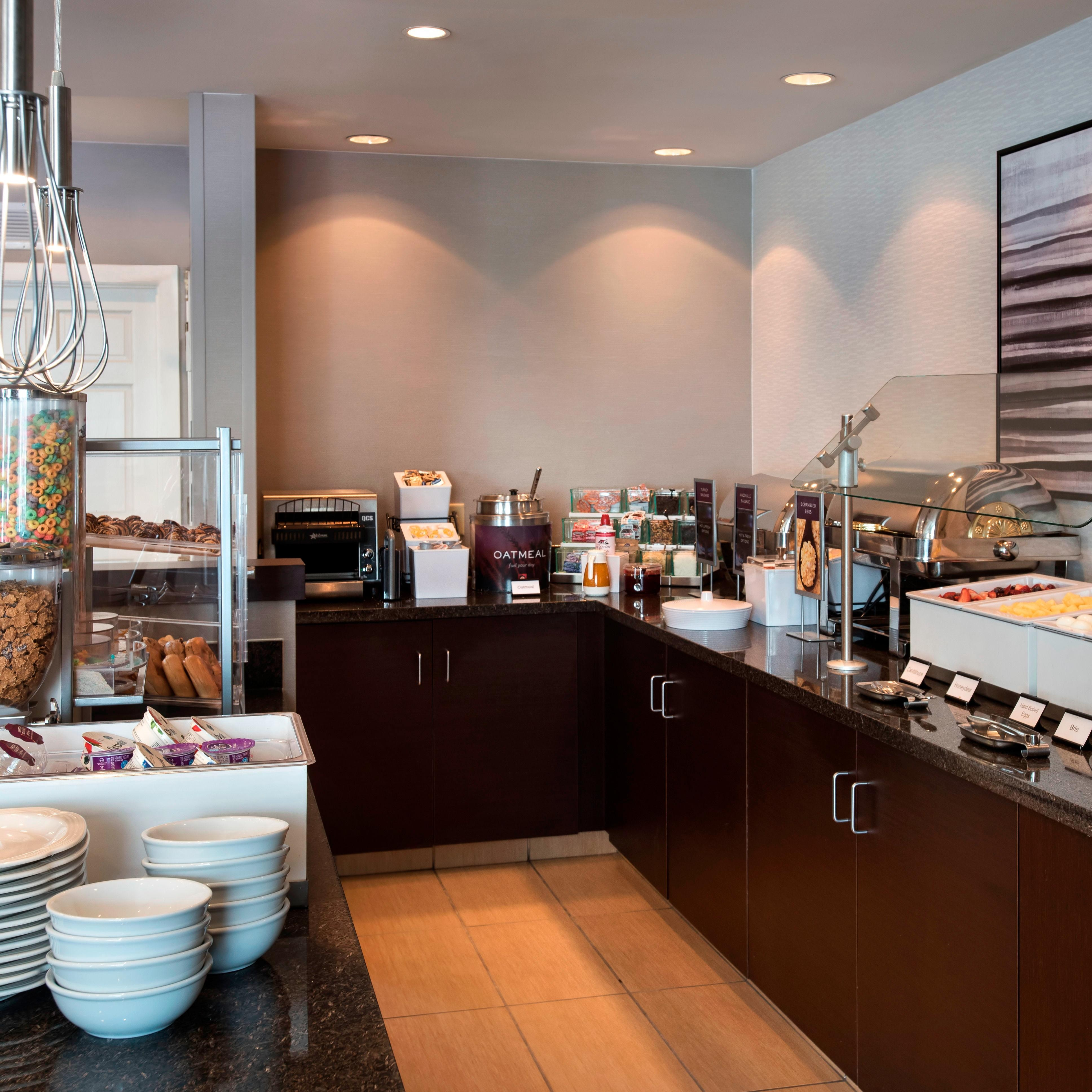 Power-up your morning at our complimentary breakfast buffet, where you can indulge in hot and cold American classics, such as scrambled eggs, pastries and cereal.